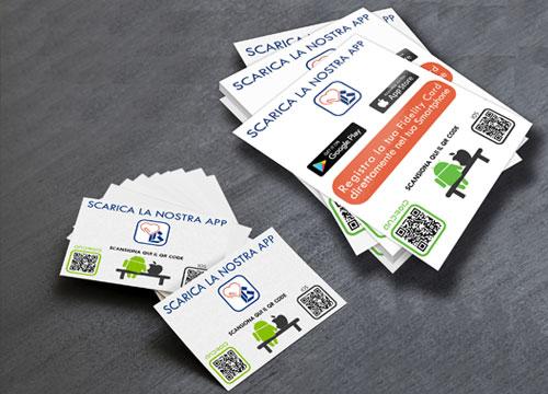 Promozione App aziendale con flyer, biglietti, post di facebook